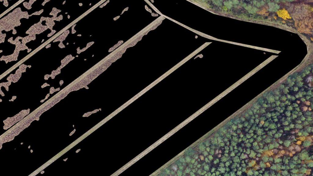 Pomiar szkód łowieckich z drona mapa znaczne szkody zaznaczone
